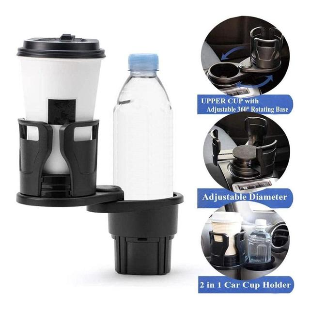 360 Degree Rotating 2 In 1 Cup Holder Vehicle-mounted Slip-proof Water Car Cup Holder Multifunctional Dual  Auto 2