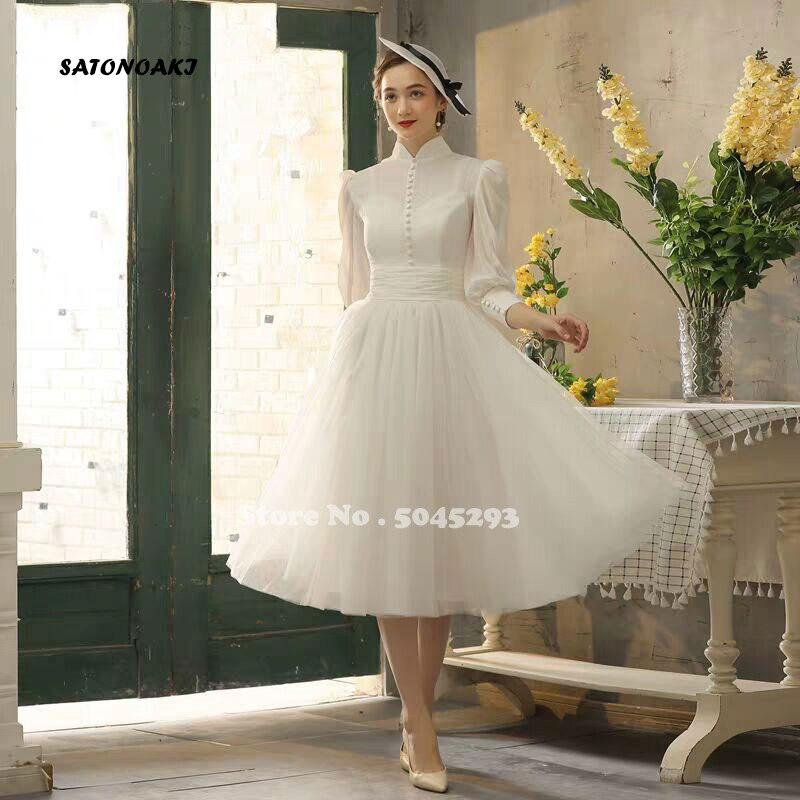 فستان زفاف قصير بياقة عالية وأكمام منتفخة طول الشاي فستان عروس للشاطئ من Princesa فستان Sukienki Vestidos رداء De Mariée فرنسا