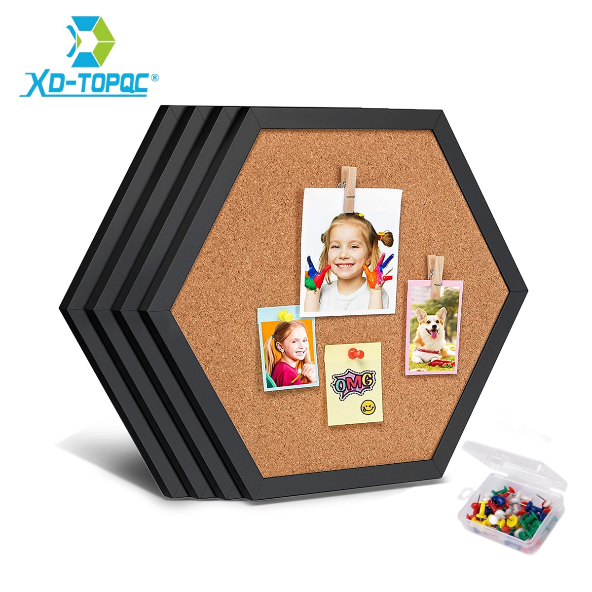 New Style Equilateral Hexagon Cork Board Innovative Message Board Pin Boards Wood Frame Decorative Postcard Wall Bulletin Board