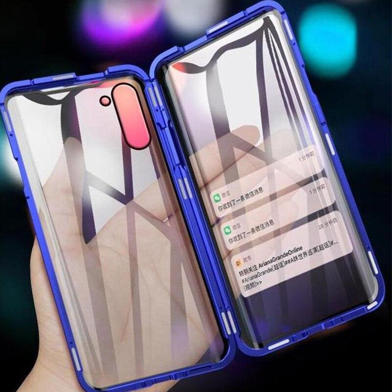 360 magnético caso para Samsung Galaxy Nota 10 Pro S10 5G S20 más Coque A51 A71 A90 A50 A70 A80 de parachoques de Metal S9 caja de vidrio