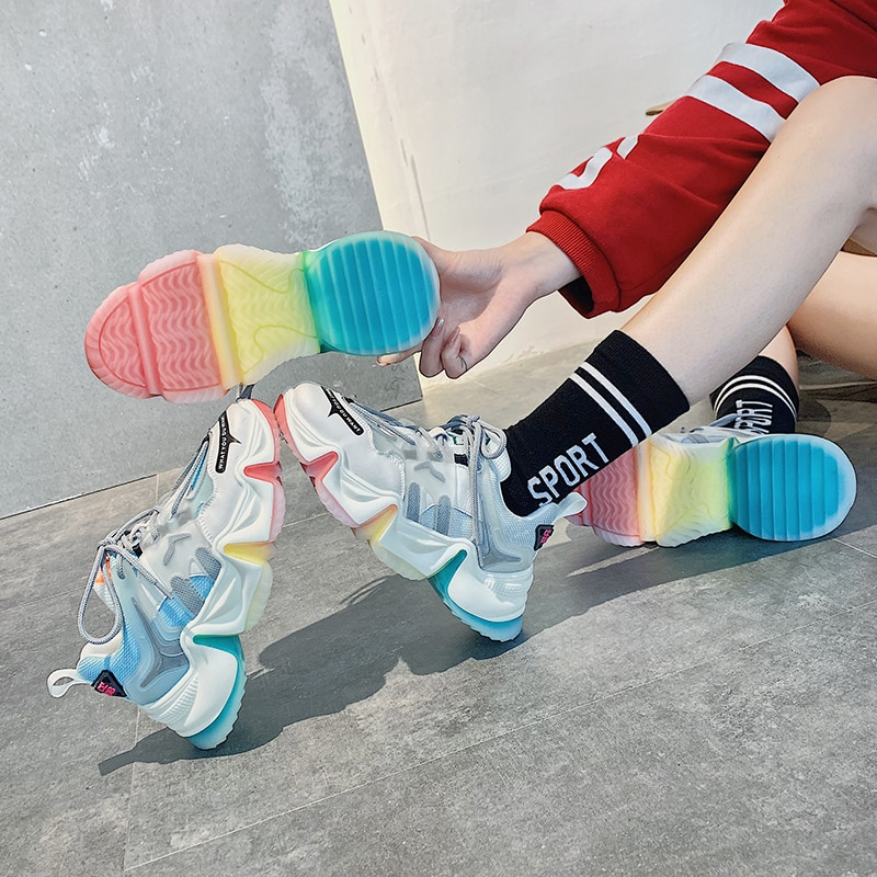 New Roman 2020 Hot Summer Women Sneakers Breathable Rainbow Color Fashion Casuals Height Increasing Female Chunky Shoes