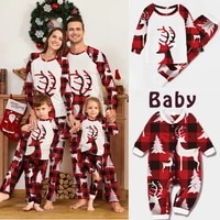 christmas family matching pajamas deer mother daughter father son baby sleepwear xmas mommy and me pjs clothes sets topspants