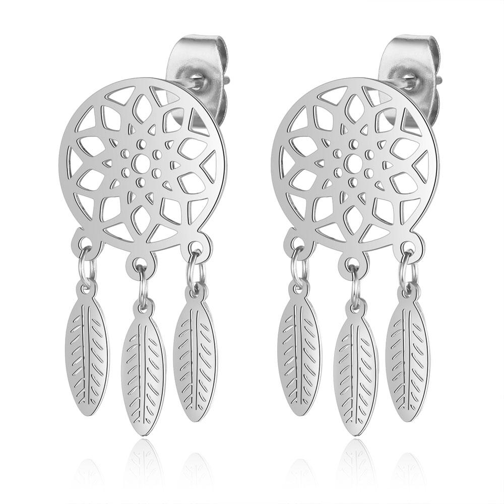 100% 316L Stainless Steel Dream Catcher Lucky Stud Earring for Women Wholesale High Quality Stud Earrings Never Tarnish