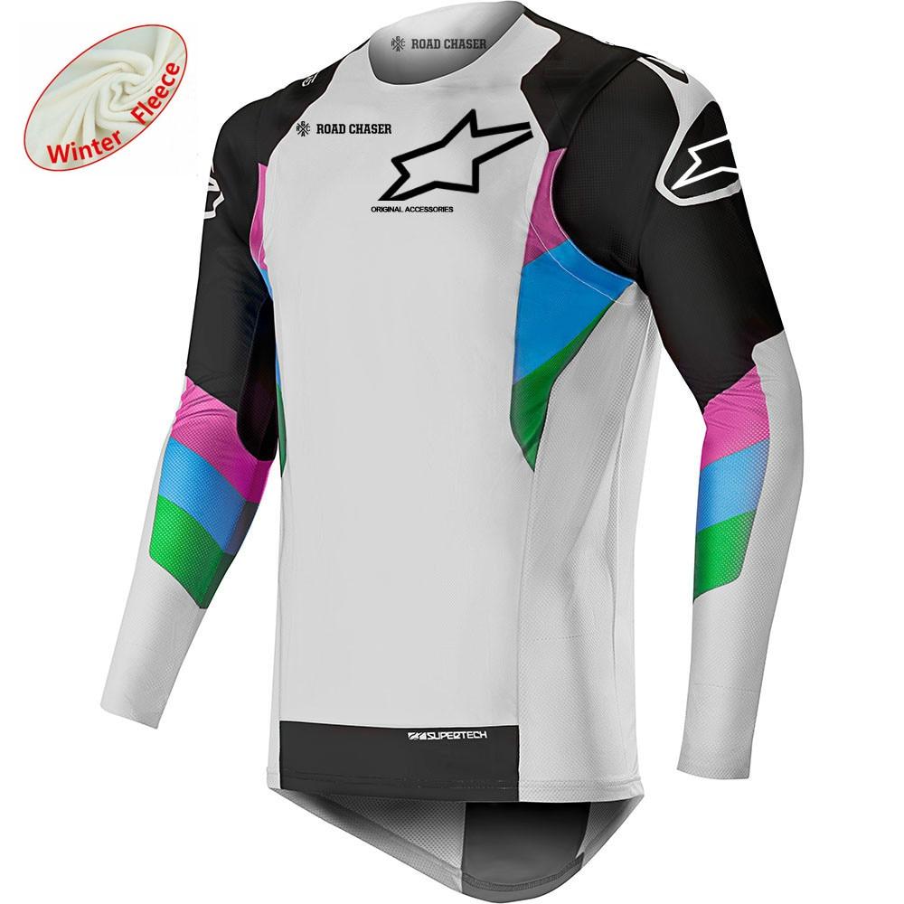 Stars Winter Thermal Fleece Mtb Jersey Motocross Moto GP Mountain Bike Motocross Jersey BMX DH Long MTB T-shirt Motorcycle Shirt