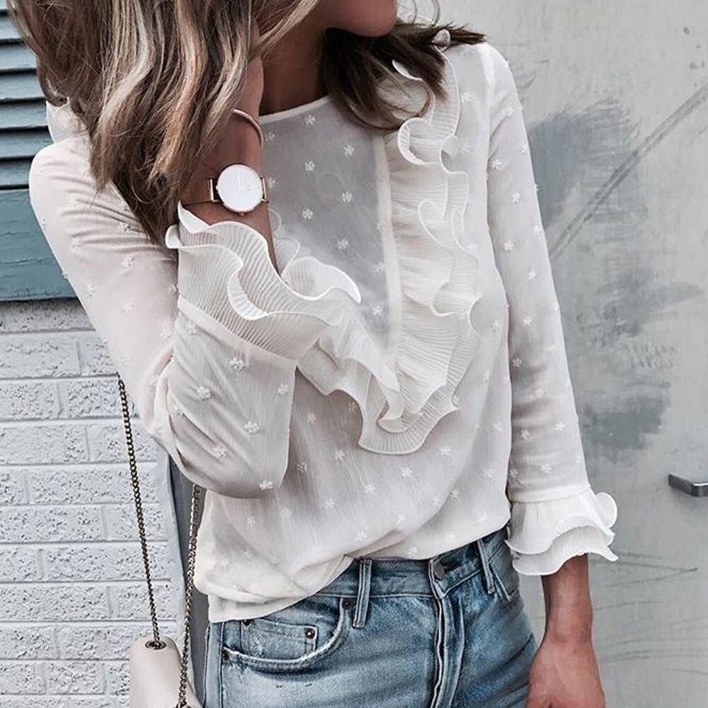 Frauen Shirts Mit Langen Ärmeln Damen Casual Spitze Polka Dot O Neck shirts Langarm Tops Bluse Frauen Mode liebe