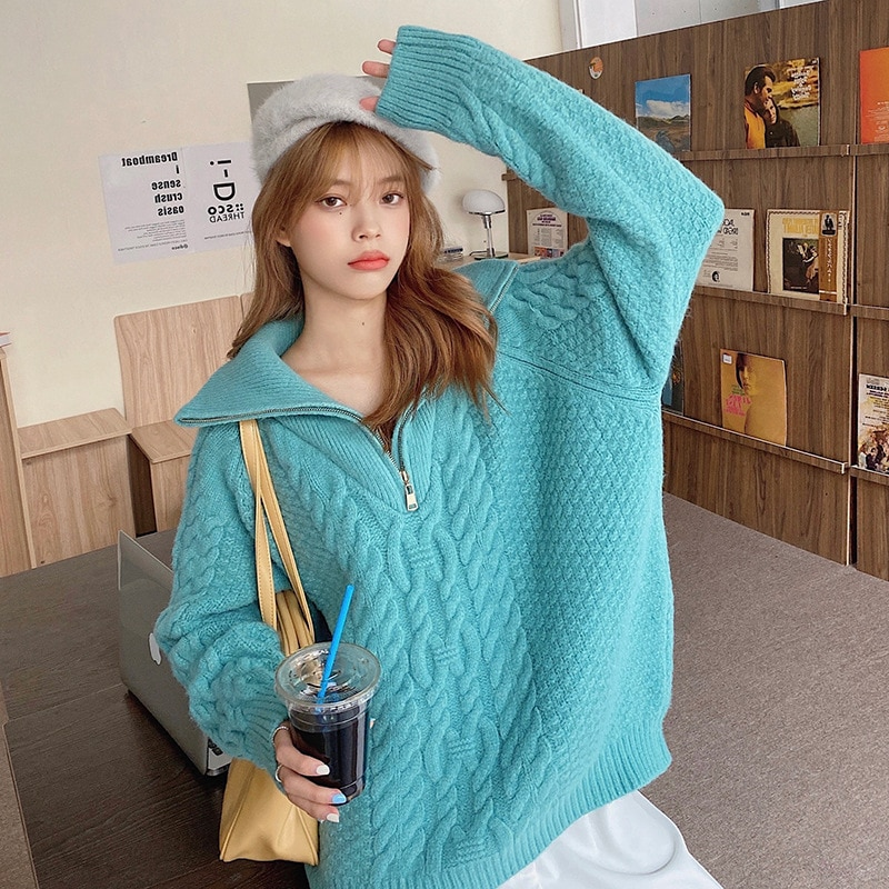 Fashion thick high neck zipper pullover sweater women loose long sleeve women pure color knitted pullover autumn and winter enlarge