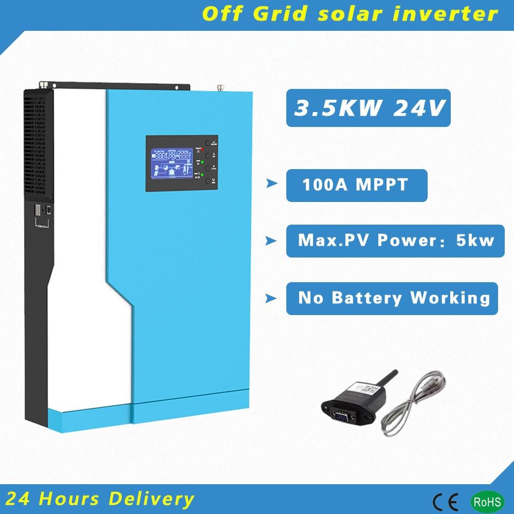 3500 واط 24 فولت عاكس شمسي هجين 100A MPPT جهاز تحكم يعمل بالطاقة الشمسية نقية شرط موجة مع WIFI رصد العمل بدون بطارية PV 120-500vdc
