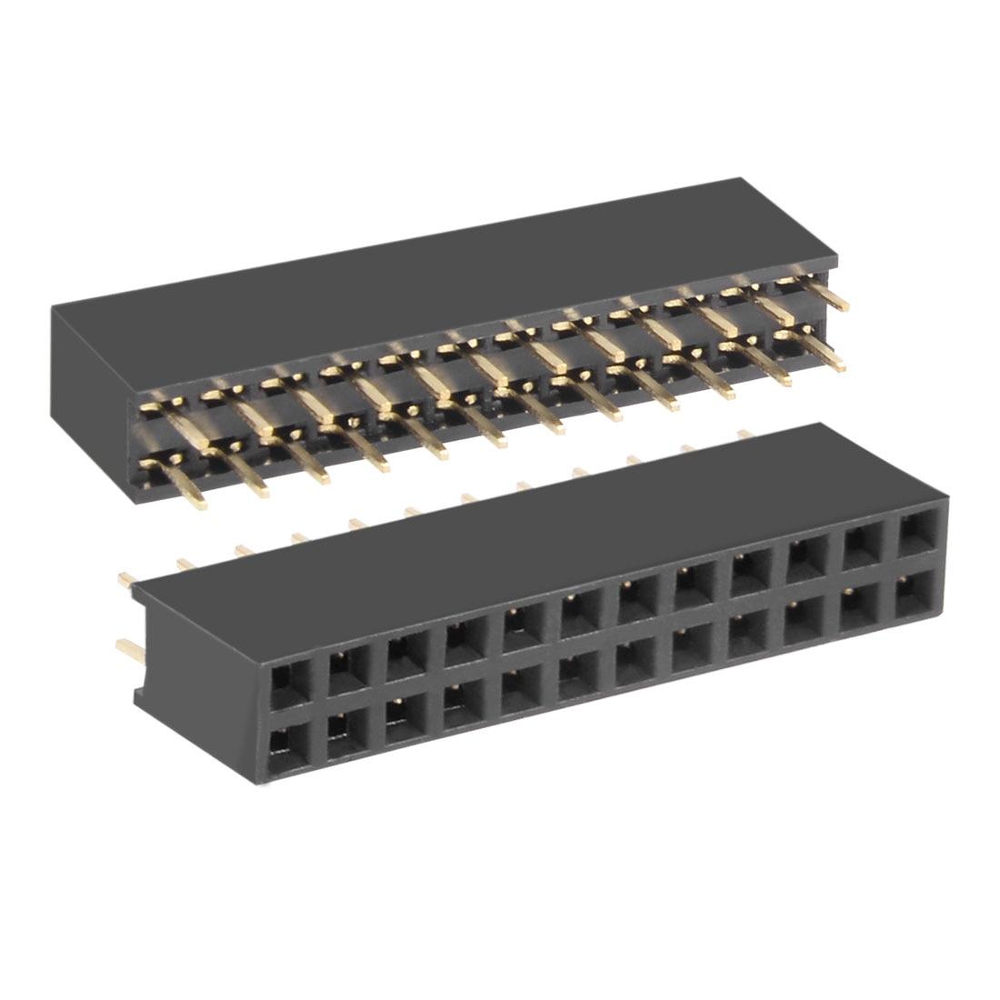 Uxcell 50 pces 2.54mm passo 2x12-pin dupla fileira reta conector fêmea pino encabeçamento tira pcb placa soquete