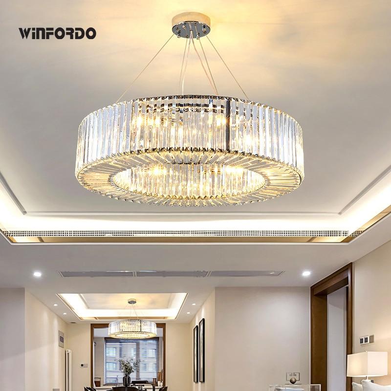 ثريا كريستال دائرية فاخرة حديثة لغرفة المعيشة مع لمبات LED E14