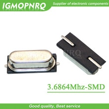 50pcs SMD HC-49S 3.6864MHz 20ppm 20pF quartz resonator crystal