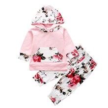 Bebê recém-nascido roupas da menina conjunto bonito floral padrão manga longa com capuz camiseta topos listra calças outono roupas infantis