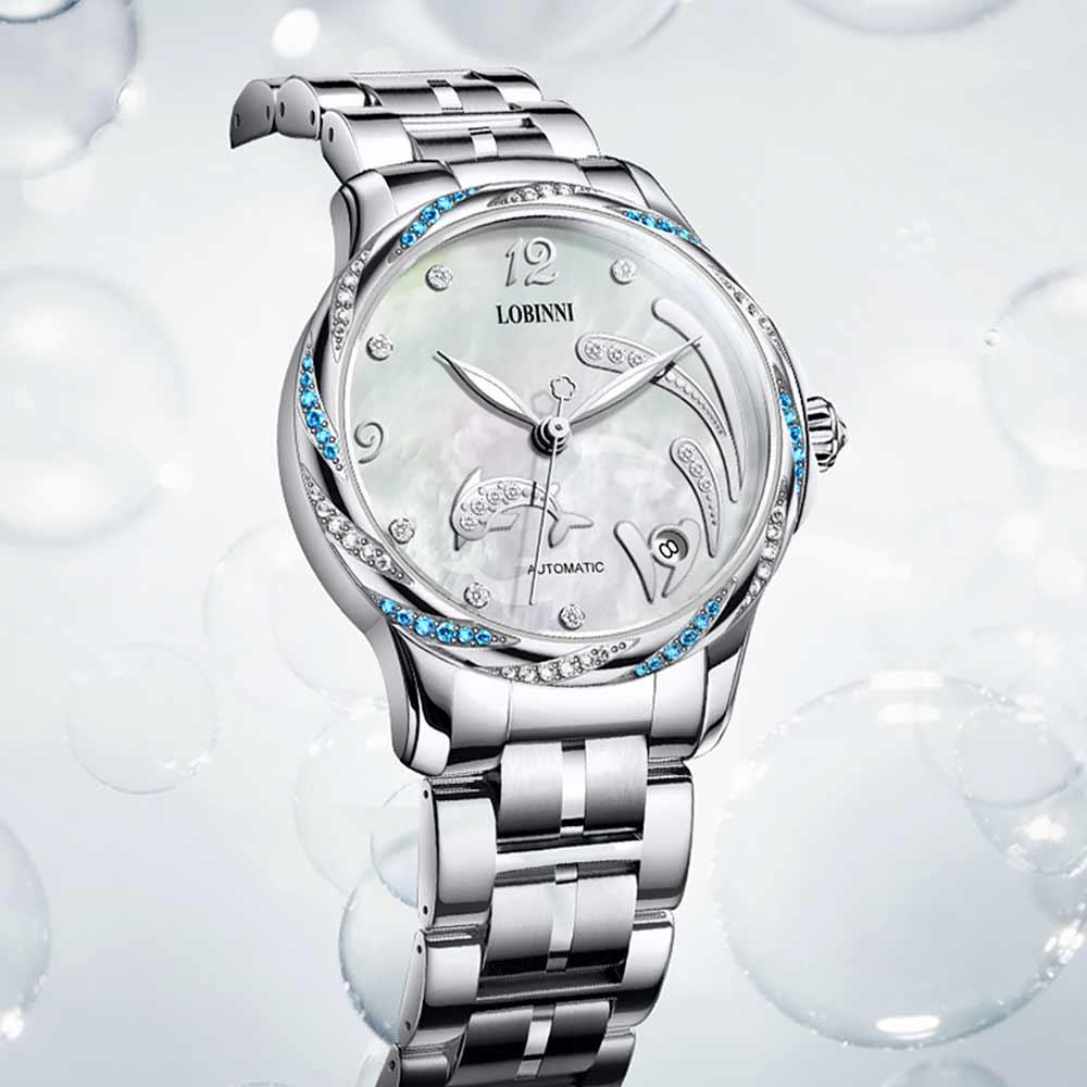 Lobinni Crystal Ladies Wrist watch Fashion Seagull Movement Women's Mechanical Watches 50M Waterproof zegarki damskie Luminous