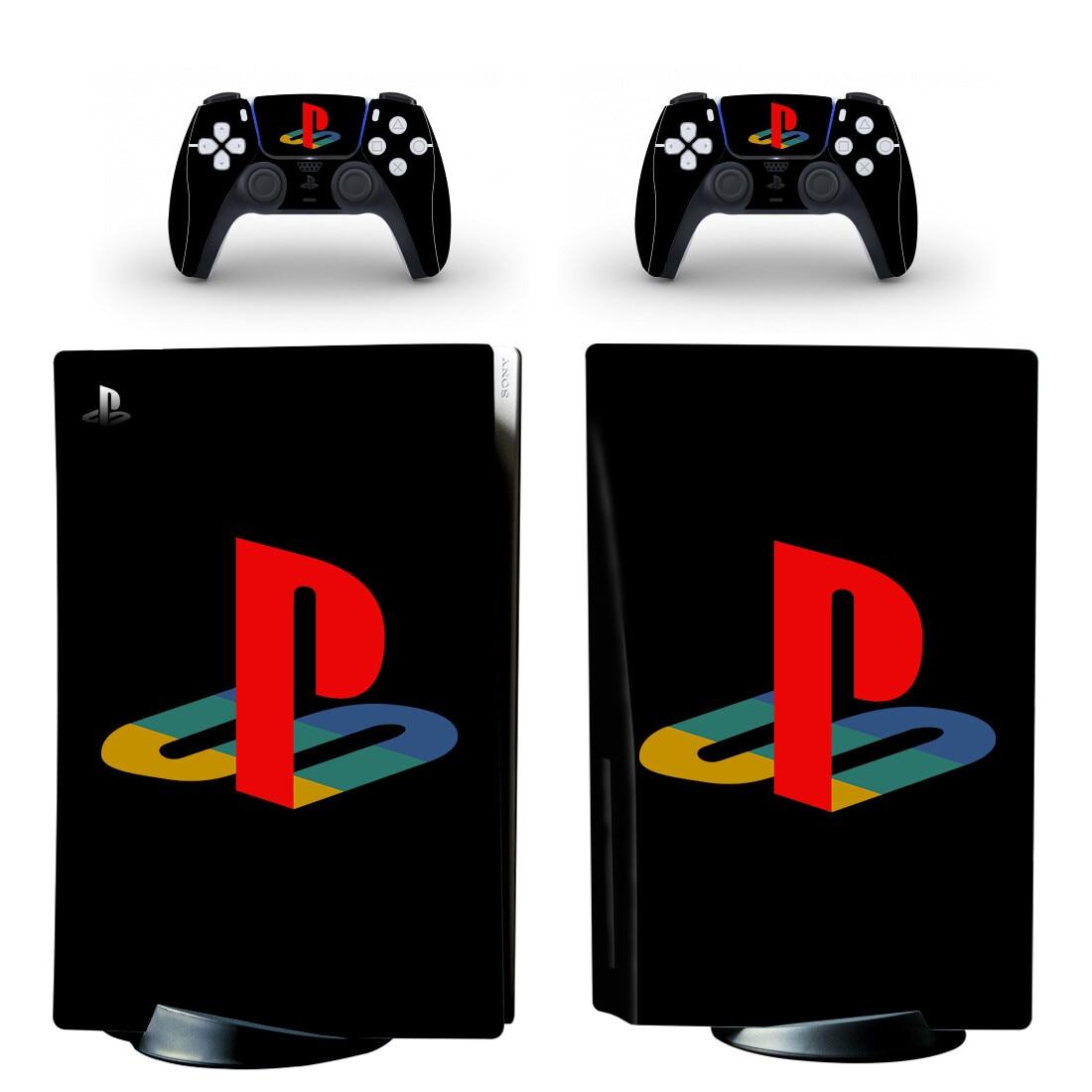 نقية الأسود PS5 القياسية القرص الجلد ملصق مائي غطاء ل بلاي ستيشن 5 وحدة التحكم و 2 تحكم PS5 الجلد ملصق الفينيل