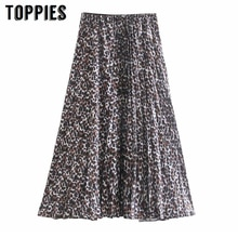 Leopard Print Pleated Skirts 2020 Spring Women High Waist Midi Skirts A-line Faldas Saia Casual Streetwear