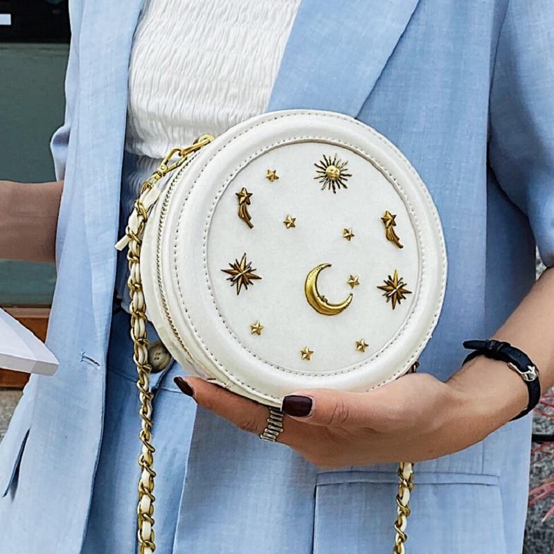 S.IKRR Mini Round Handbag 2020 Lady Split Leather Circular Crossbody Bags Female Stylish Cellphone Bag for Women Evening