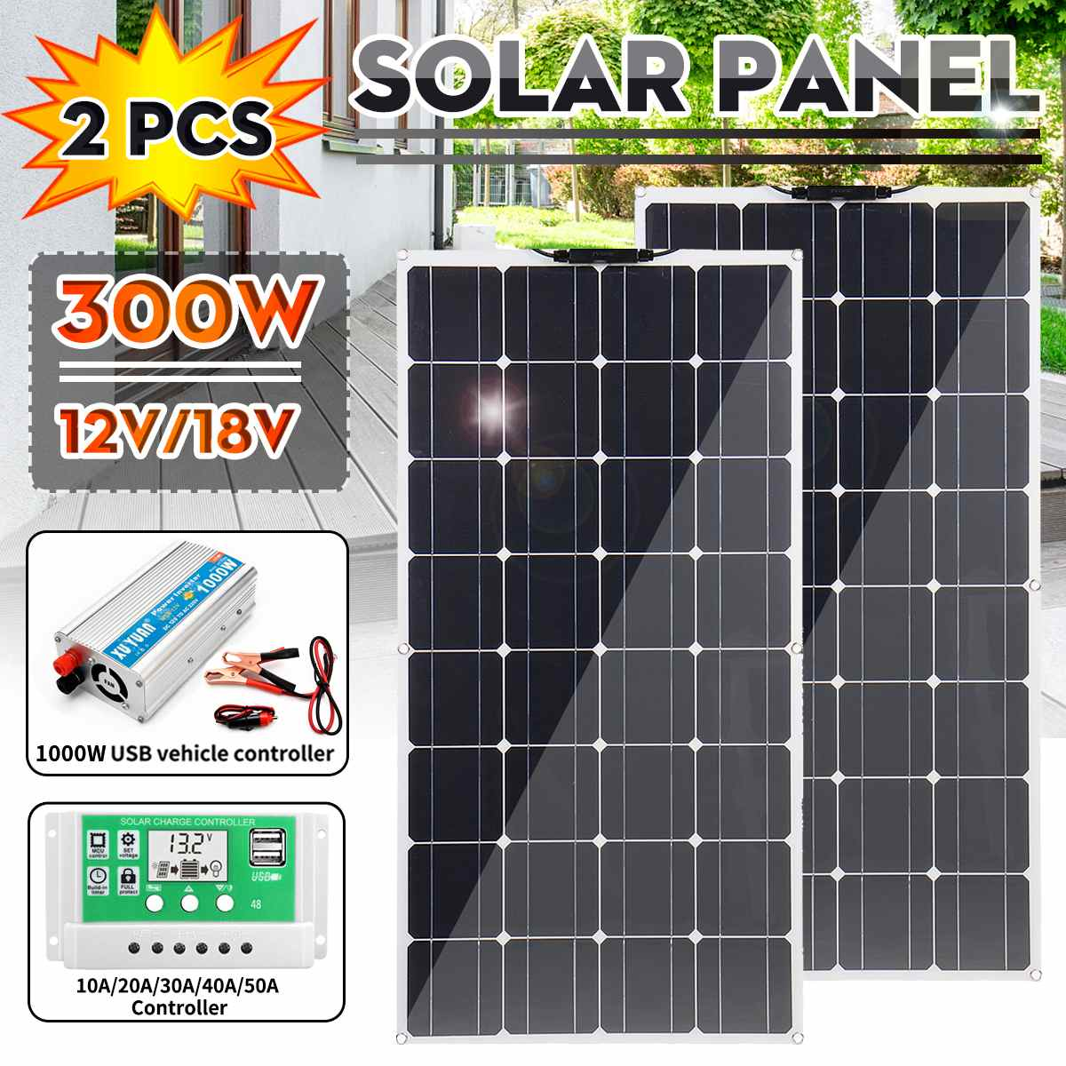 150/300W Monocrystalline Solar Panel Dual USB With 50A/40A/30A Controller 1000W Power Inverter Vehicle RV Marine Battery Charger