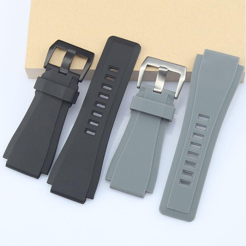 Correa de reloj de alta calidad de 33*24mm de silicona negra y gris para relojes Bell & Ross BR01BR02, Correa convexa resistente al agua con hebilla Pin y Logo