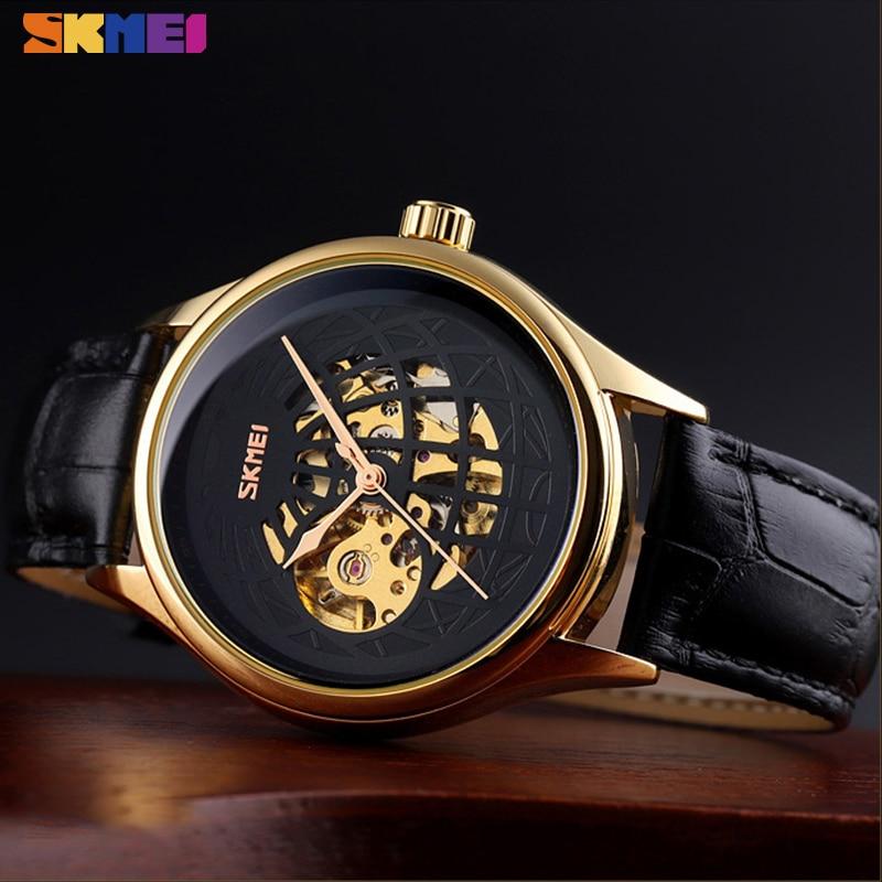 2021 SKMEI Fashion Mechanical WristWatch Automatic Watch Men Innovative Hollow Big Dial Transparent Gear Top Brand Luxury Clock