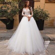 Booma 긴 소매 레이스 웨딩 드레스 Boho 비치 Tulle 결혼 신부 가운 사용자 정의 만든 플러스 크기 2020 공주 파티 드레스