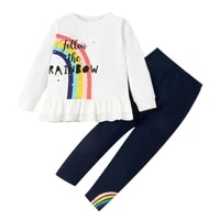 girls long sleeve rainbow print suit cotton white round neck top ruffle black casual pants fashion comfortable two piece set