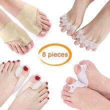 8Pc Silikon Hallux Valgus Korrektur Werkzeug Bunion Corrector Toe Haarglätter Fuß Finger Separator Big Toe Protector Füße Spacer