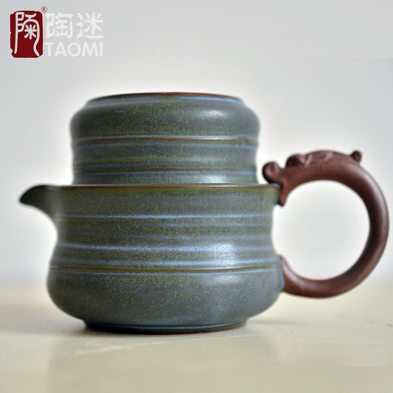 [GRANDNESS] juego de té incluye 1 olla 1 taza juego de té de viaje Taza de cerámica clásica gruesa portátil tetera de cerámica de estilo japonés