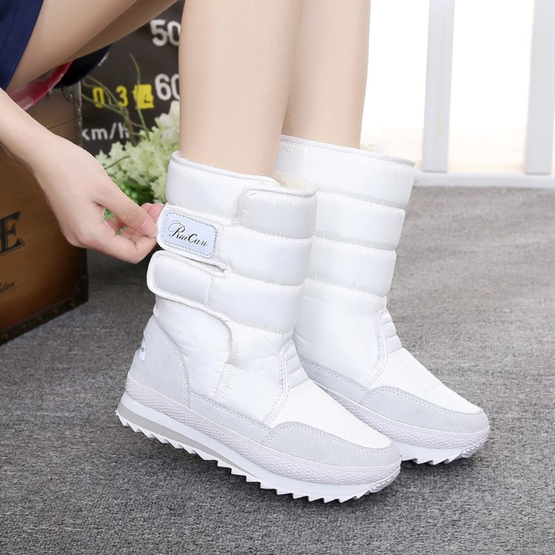 Solid hook & loop winter shoes women boots 2019 warm fur winter women snow boots women running shoes woman platform sneakers