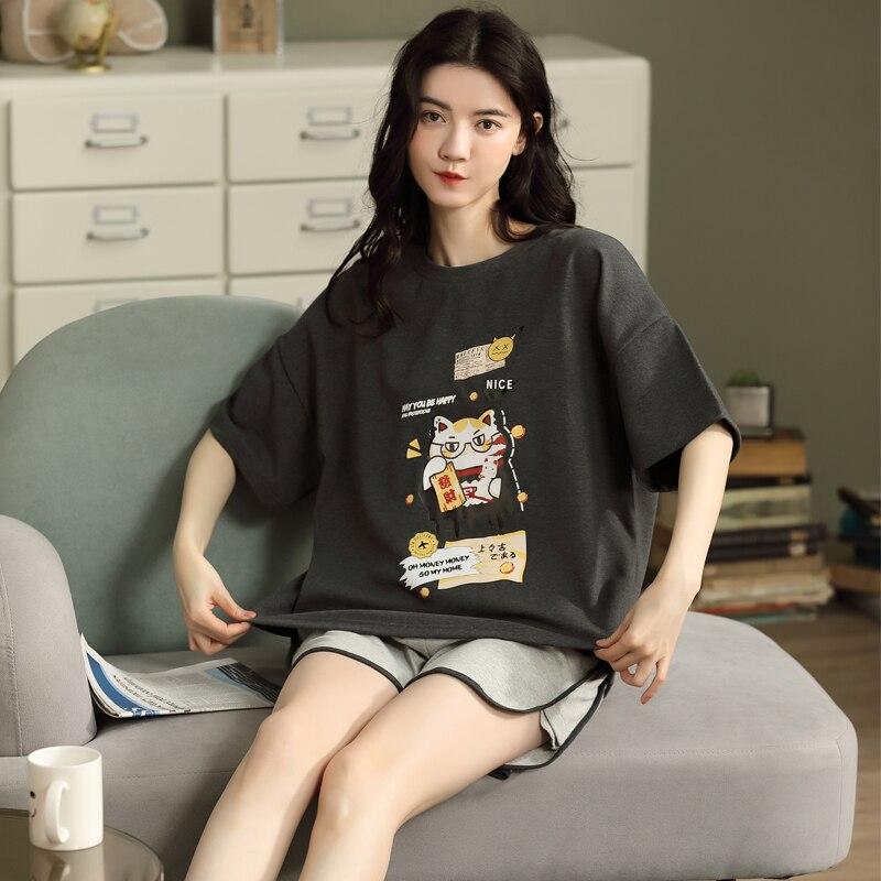 Лето женские хлопок пижамы одежда для сна шею свободные с короткими рукавами одежда для сна женщины шорты дом одежда пара одежда для сна комплект