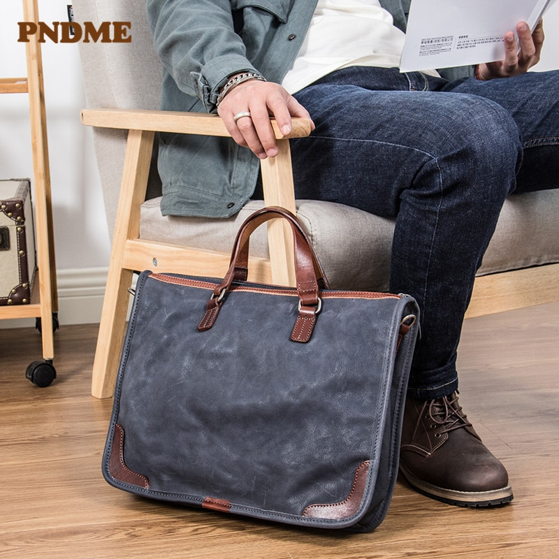 PNDME retro luxury mens business Genuine leather briefcase simple casual soft laptop bag shoulder messenger