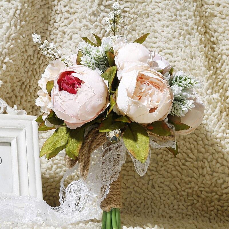 بسيطة الزفاف الزهور البلد نمط باقات زفاف اصطناعية للعرائس casamen الدانتيل الزهور الزفاف باقات وصيفة الشرف