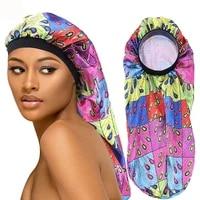 fashion print flower turban hats for women sleep hair hat long cylindrical beanie caps muslim india headwear gorras para mujer