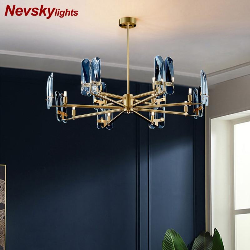 Lámpara de iluminación de techo moderna, candelabro de cobre de cristal, candelabros minimalistas para sala de estar