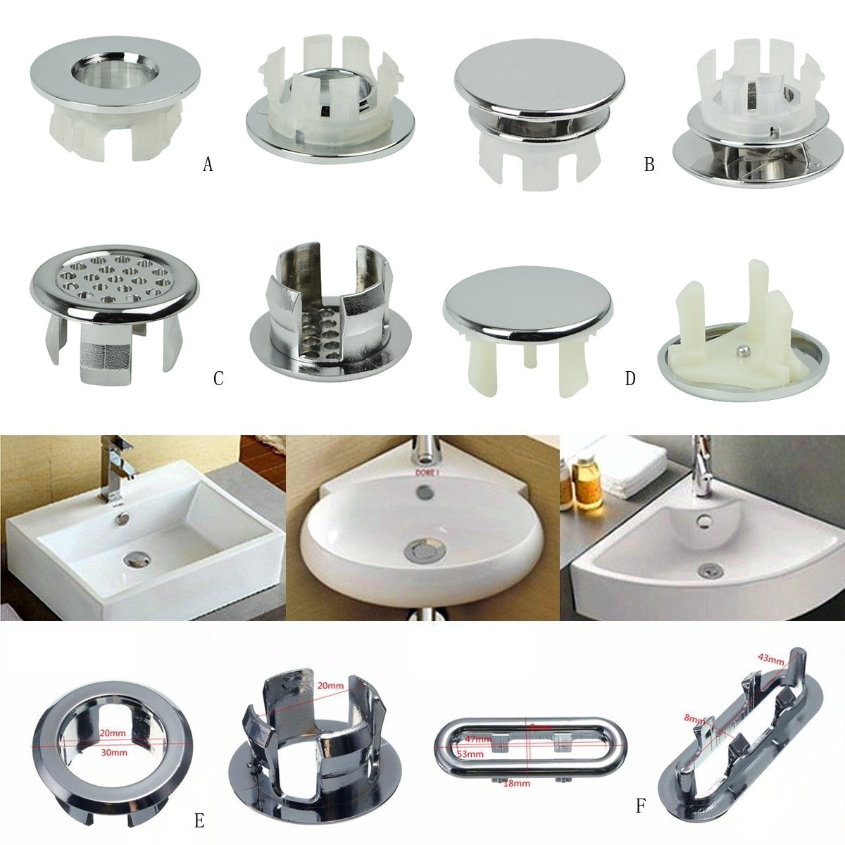 Bathroom Ceramic Basin Overflow Cover Bathroom Assoeted Chrome Trim Sink Overflow Spare Cover Basin Overflow Cover #25