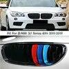 1 zestaw połysk/matowy czarny zderzak przedni Racing grille kratki nerkowe dla BMW X1 E84 2010-2015 M moc wydajność akcesoria