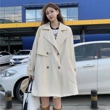Windbreaker coat women's autumn 2021 new Korean small man medium long loose long sleeve temperament
