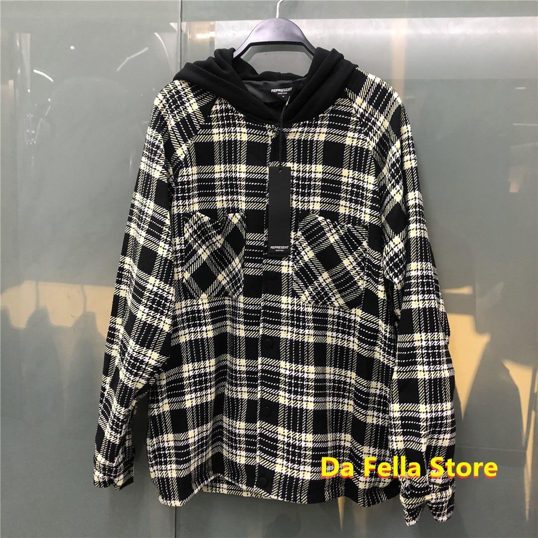 Куртка с капюшоном для мужчин и женщин, качественное пальто в клетку, в полоску, в стиле Хай-стрит, черный цвет, 1:1
