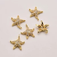 5 pcslot 14mm 12 2mm zircon starfish shape 18k brass gold plated pendant pendants jewelry making cute accessories ja0336