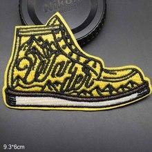 Gelb Wandern Schuh Outdoor Thema Eisen Auf Patches Bestickte Kleidung Patch Für Kleidung Kleidung Aufkleber Bekleidungs