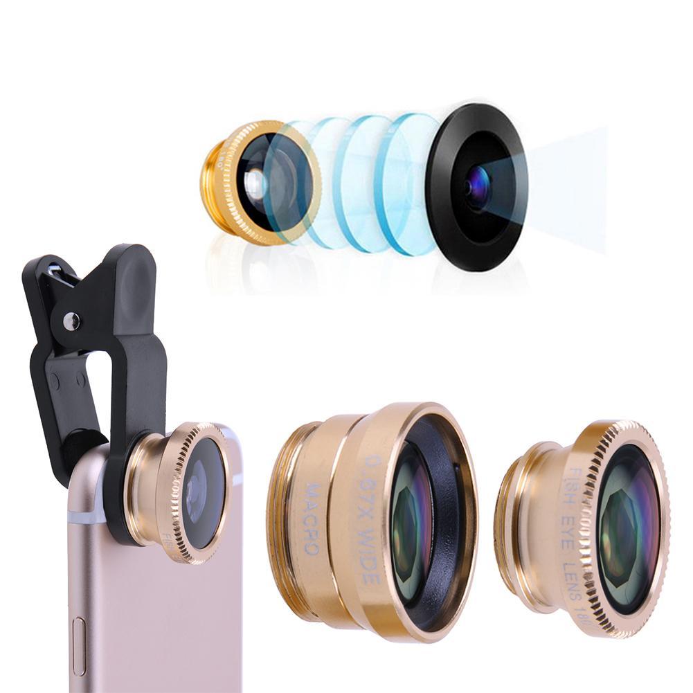 Quente 3 em 1 180 graus lente olho de peixe + 0.67 grande angular lente da câmera macro kit lente do telefone capa clipe universal para telefones celulares
