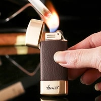 chinese brand fine honest creative personality retro leather grinding wheel inflatable lighter smoking gift box mens gift box