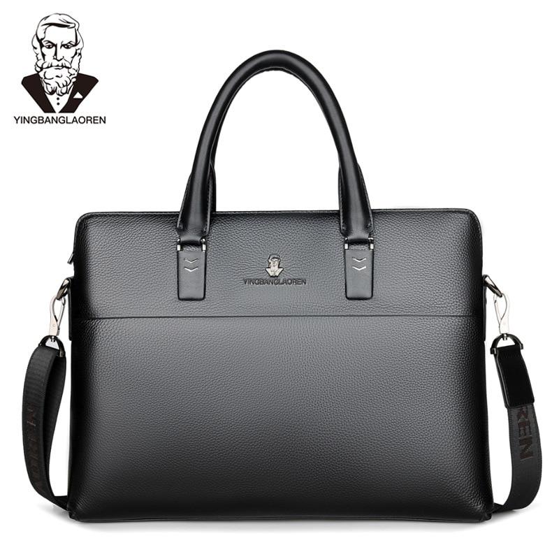 Maletín de piel de vaca con capa de cabeza para hombre, bolso de viaje de negocios, bolso de ordenador portátil, bolsa cruzada de hombro informal, bolso mensajero