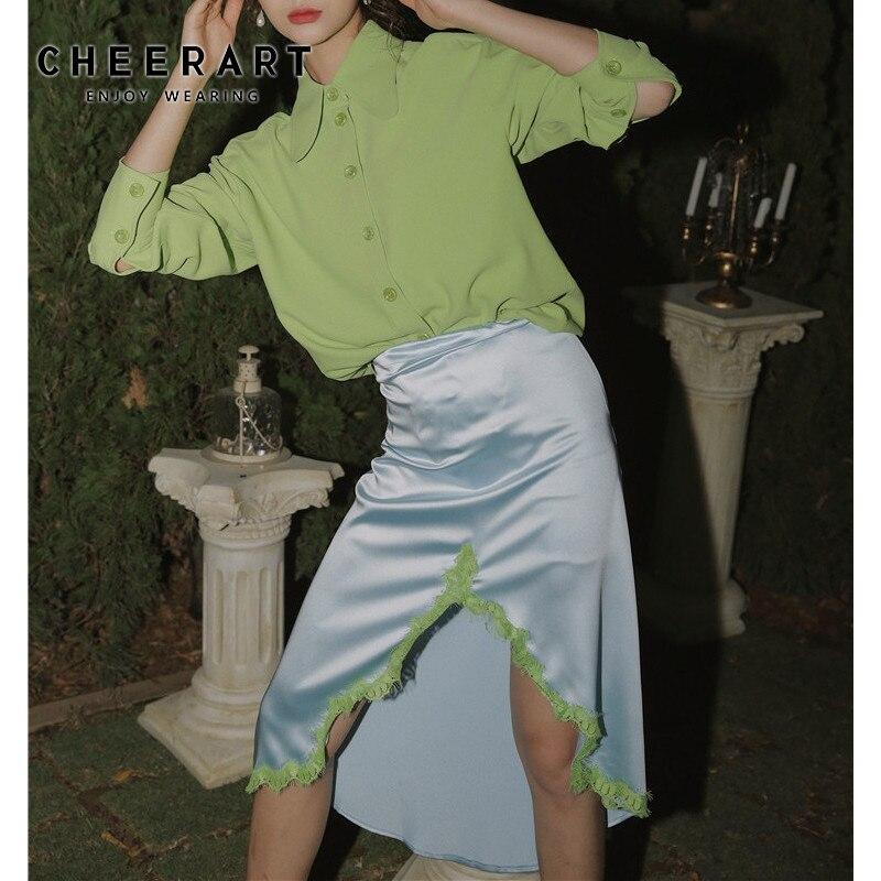 CHEERART Green Wave Lace Asymmetrical Skirt Women Designer 2020 Fashion High Waist Ladies High Low Skirt Knee Length