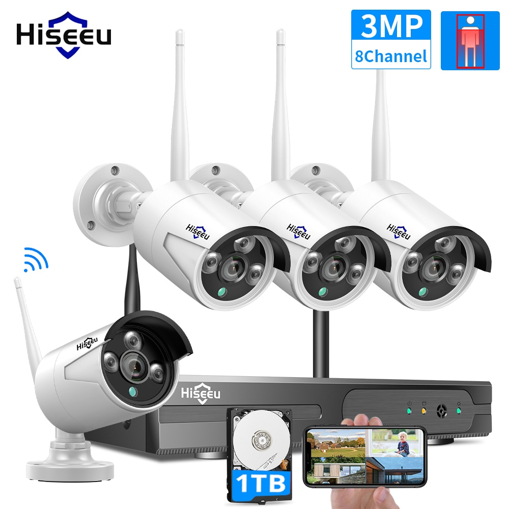 hiseeu 8ch wireless cctv system 1536p 1080p nvr wifi outdoor 3mp ai ip camera security system video surveillance lcd monitor kit WIFI IP Bullet Camera 3MP 1536P 8CH NVR Wireless CCTV Security System Kit Infrared 4PCS Cam Remote Viewing 1T HDD