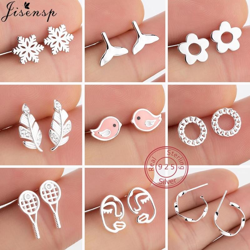 100% 925 Sterling Silver Earrings for Women Kids Jewelry Fashion Feather Face Flower Bird Stud Earri