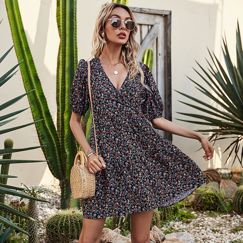 Women 2021 New Spring Summer Vacation Style Fashion Thinner Printed V Neck Chiffon Short Sleeve Ladies Small Floral  Mini Dress summer jumpsuits short sleeve bohemia floral print v neck beach vacation belt chiffon big size 2019 top fashion clothes