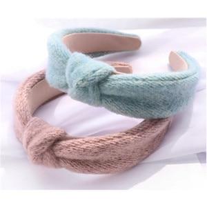Women Winter Solid Head Band Crochet Wool Hairband Knot Ladies Dress Match Headdress Hair Band Adults Outdoor Warm Headband