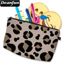 Deanfun 3D Printed Brown Leopard Cosmetic Bag Waterproof Girls Storage Bag Roomy Makeup Bag For Women D51503