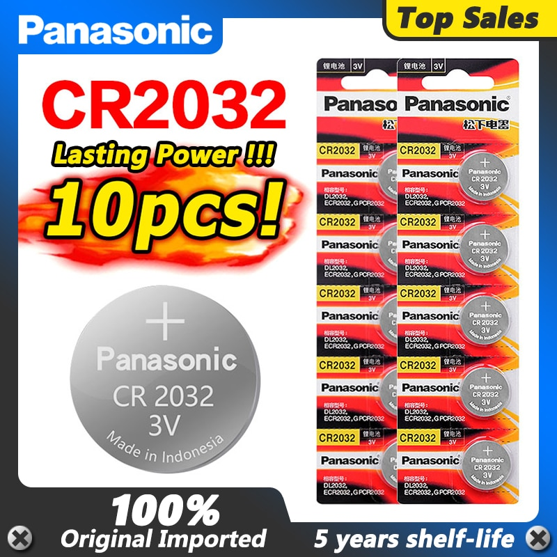 10pcs PANASONIC new battery cr2032 3v button cell coin batteries for watch computer cr 2032 ECR2032
