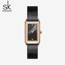 Shengke 여성 시계 패션 제네바 디자이너 숙녀 시계 럭셔리 브랜드 직사각형 석영 골드 손목 시계 여성을위한 럭셔리 선물