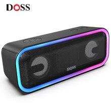 DOSS SoundBox Pro + TWS беспроводной Bluetooth динамик 24 Вт впечатляющий звук с глубокими басами смешанные цвета огни истинный стерео звук